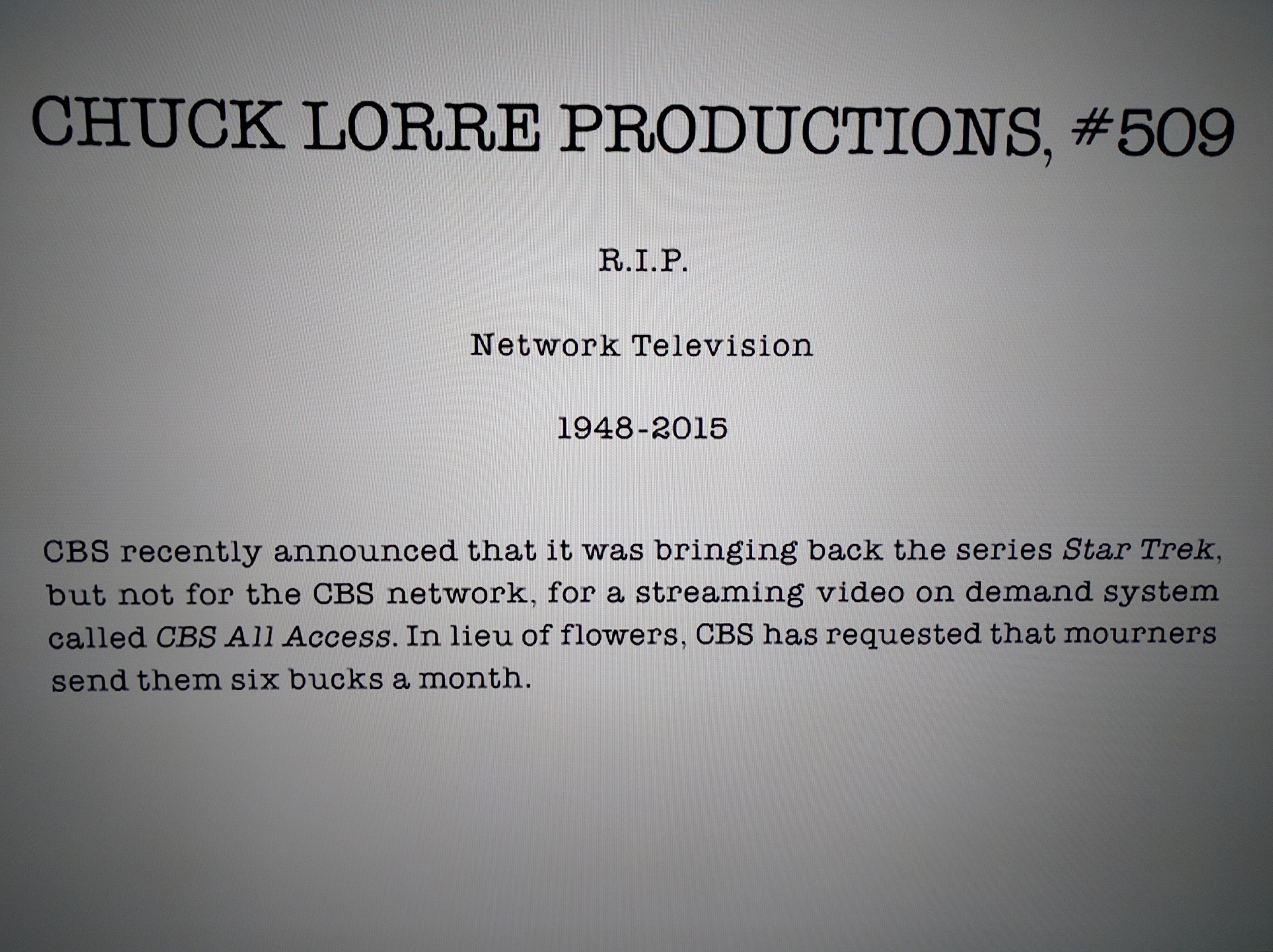 Chuck Lorre R I P Network Televison General Discussion
